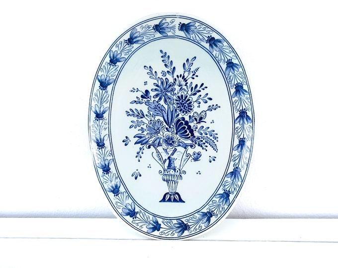Vintage Delft blue oval wall plate bouquet Petrus Regout Maastricht • Maestricht ceramics • decorative wall plate • Dutch Regout plates