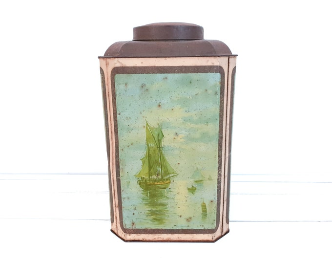 Vintage rusted store tin can sailboats  • industrial green storage tin • large antique general store tin • farmhouse rustic interioir decor
