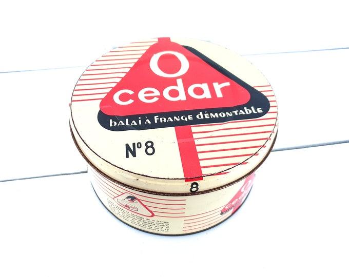 Vintage French industrial round tin can Cedar • round drum • collecting advertising cans • industrial home accessories • mancave decoration