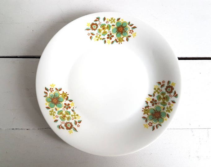 Unique retro plate 'green and brown flowers'