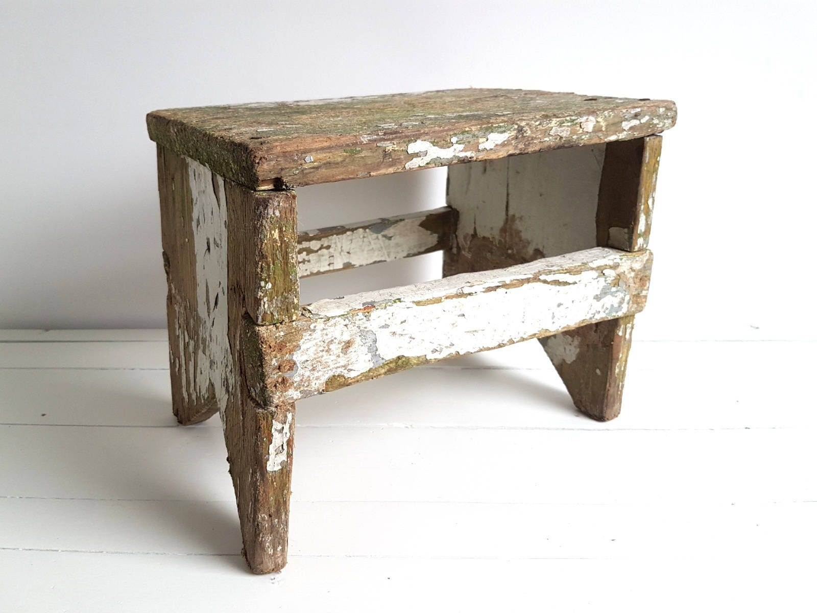 Vintage farmhouse wooden step stool * rustic kitchen step ...