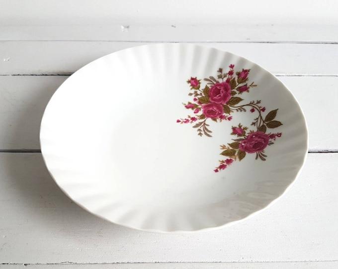 Vintage porcelain soup plate 'pink roses'