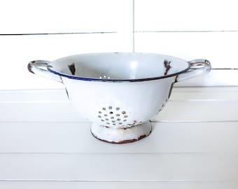 Vintage white enamel colander • strainer bowl • farmhouse colander on foot with handles • kitchen sieve • grandma's kitchen enamelware