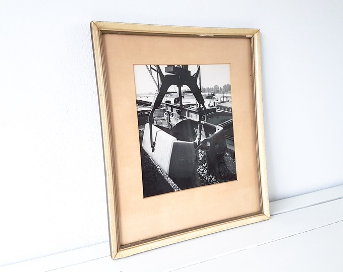 Vintage industrial black and white photo framed • old shipping photo • industrial interior • industrial wall decoration