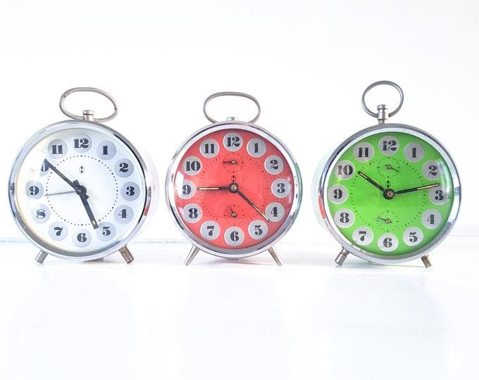 Vintage alarm clock Hema • old decorative alarm clocks • classic retro alarm clock red white blue • home decoration • old clock