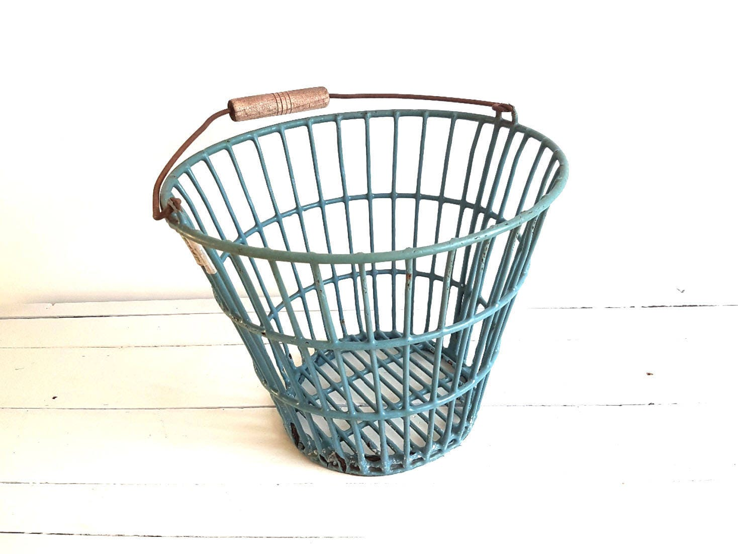 Vintage Potato Basket U2022 Metal Wire Basket With Handle U2022 Metal Storage Basket  U2022 Industrial Decor U2022 Petrol Bucket