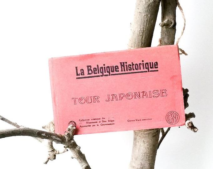 Vintage postcard book 'Tour Japonaise' * vintage postcards * vintage souvenir * Belgium * collectible cards * black and white cards