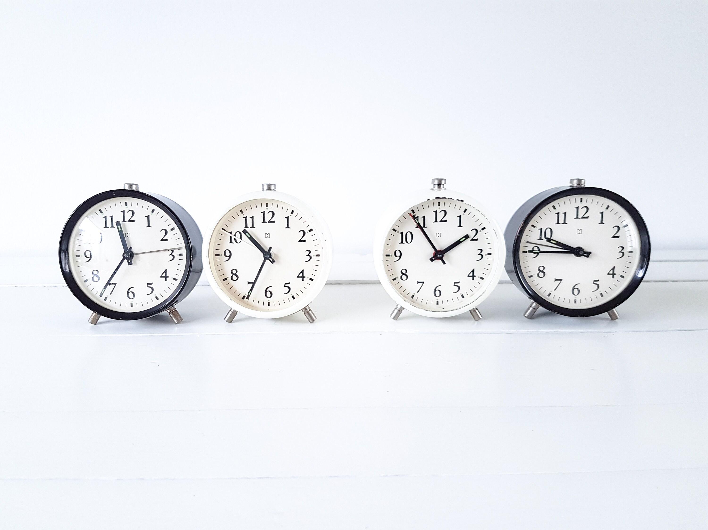 Vintage set alarm clocks black and white Hema • white farmhouse