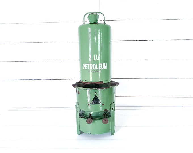 Vintage Dutch reseda green enamel kerosine stove • paraffine burner • graniteware petroleum jug • grandmother's kitchen utensils
