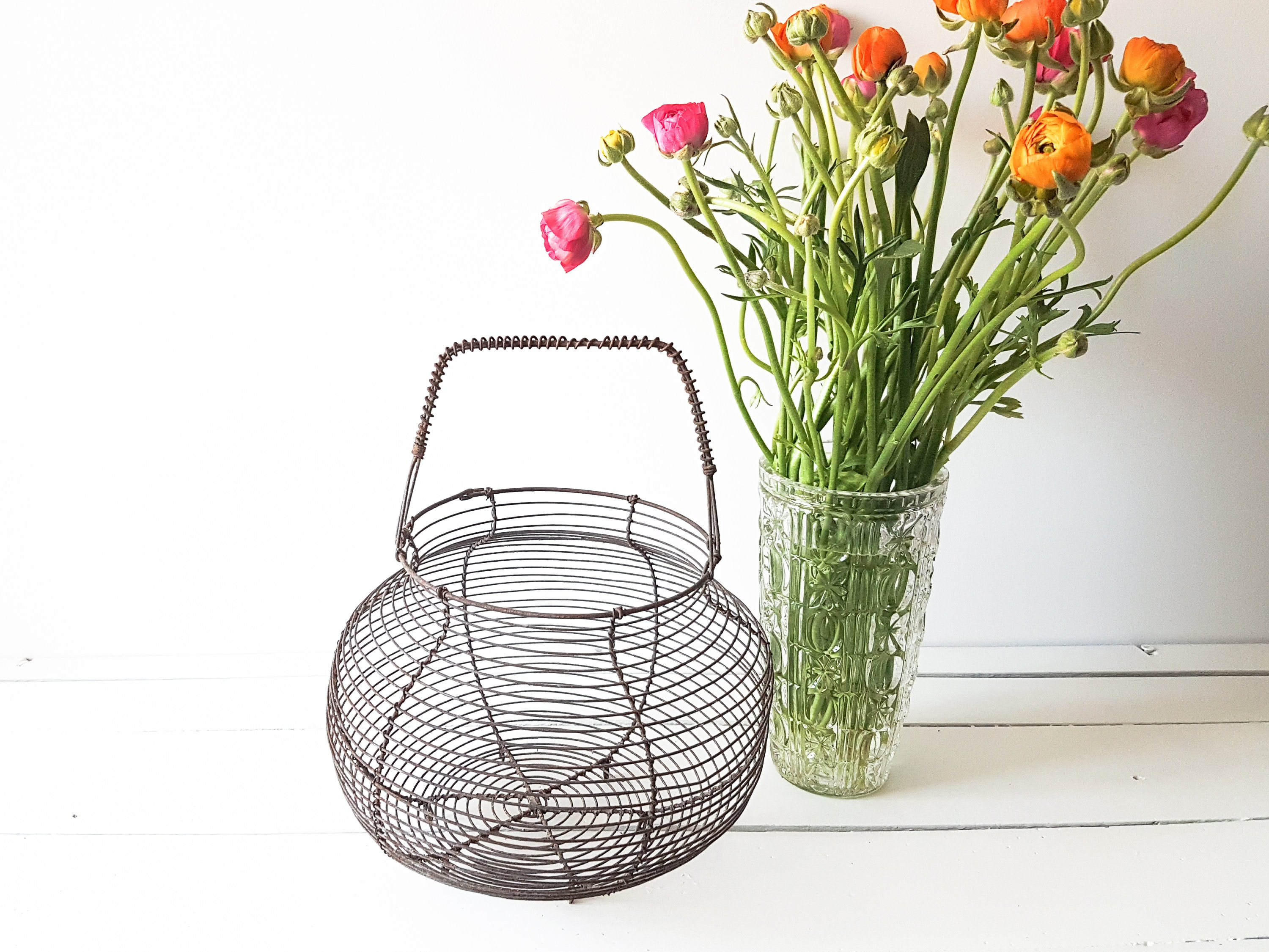 French vintage metal kitchen basket * vintage egg basket * easter ...