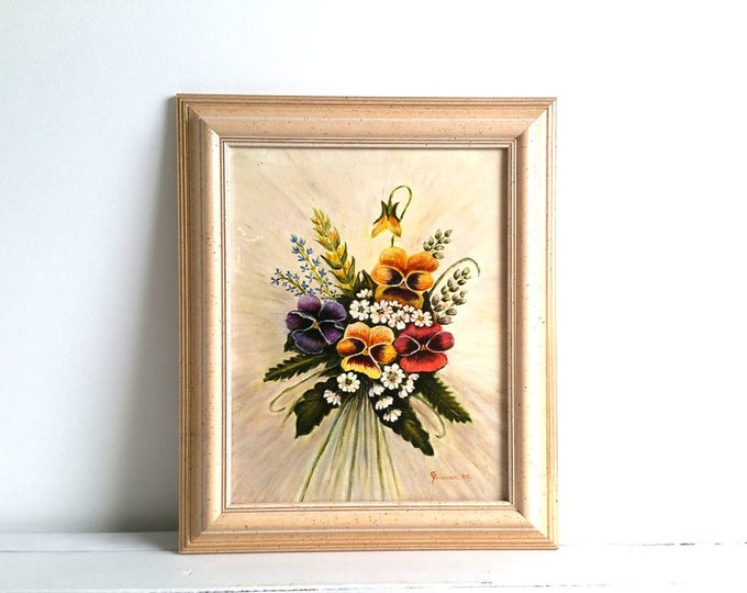 Vintage wood framed oil painting 'Pansy' * Botanical painting * oil painting on canvas * wall art