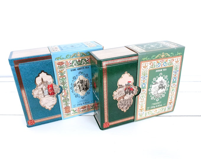 Vintage tea tin The story of Tea by Robert Jacksons of Piccadilly • vintage tea cannister • old tin can • tea storage tin • collectors item