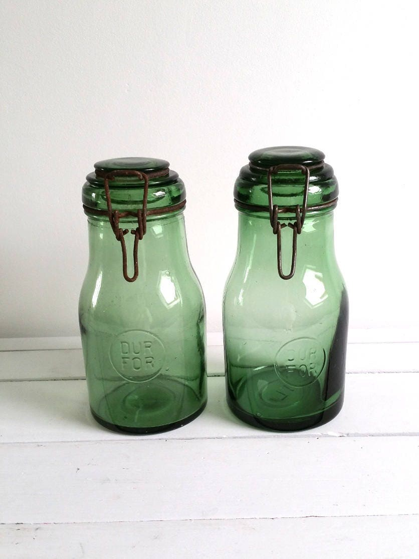 Old French vintage glass storage container Dur For