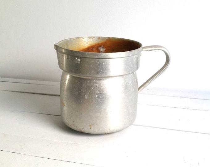 Old farmers aluminum milk pan * farmhouse kitchen * vintage planter * rustic jug