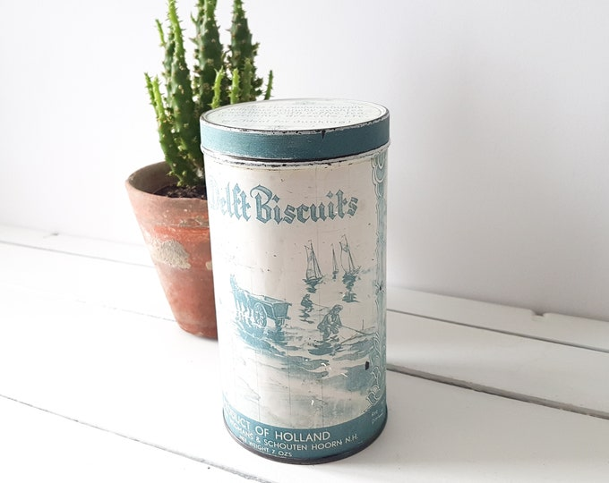 Dutch vintage storage tin 'Old Delft Biscuits * old collectible tin * farmhouse decor * old metal storage tin * photoprop