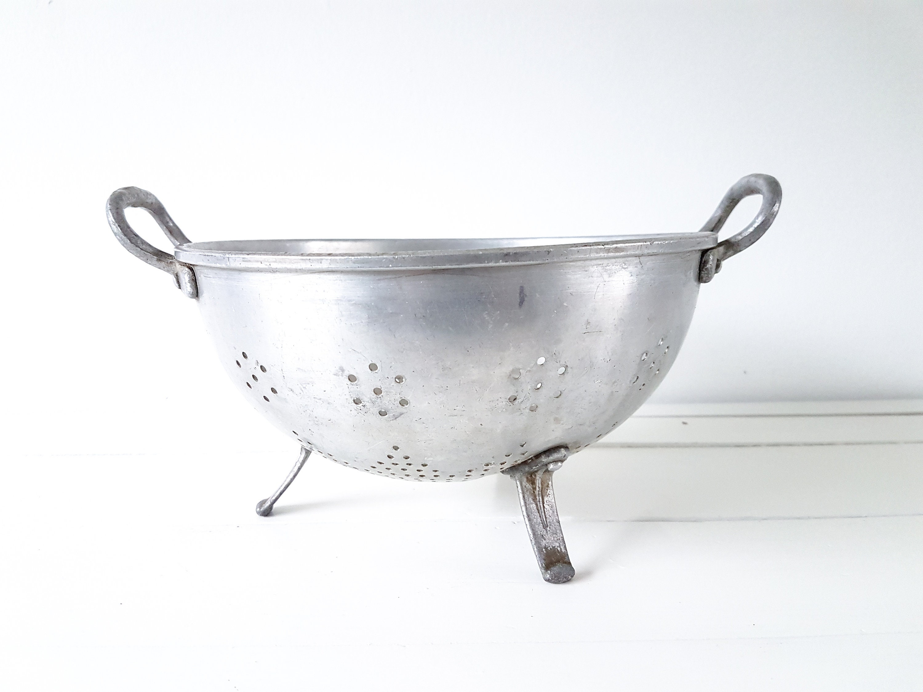 Vintage Aluminum Footed Colander French Kitchen Strainer