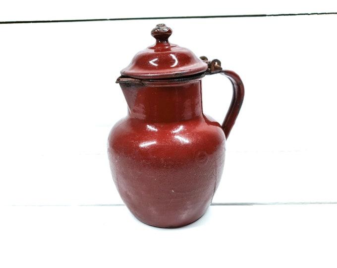 Vintage red enamel milk pitcher burgundy • milk jug • red enamelware • little teapot • vintage decor • French kitchenware • unique enamel #1