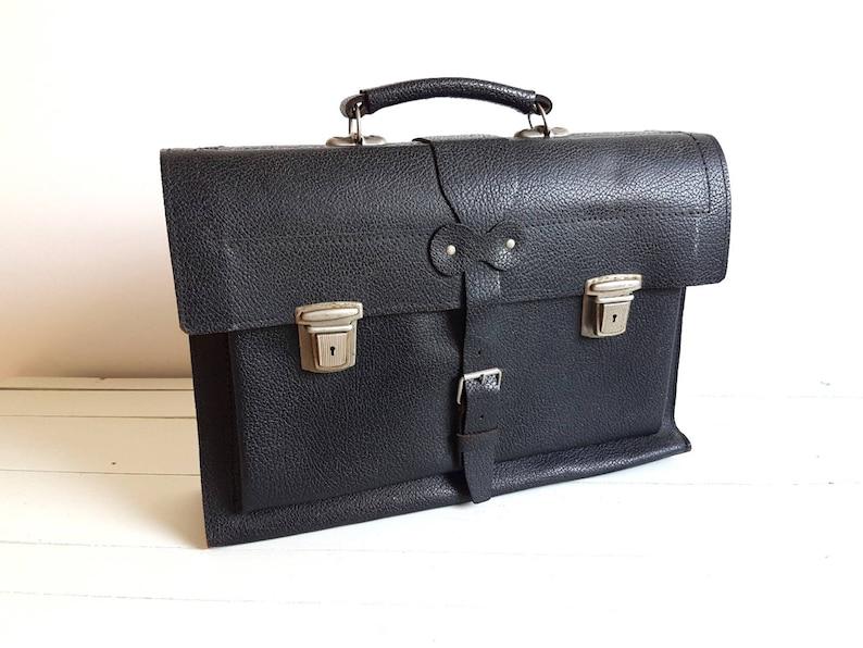Vintage black leather school bag * old workbag