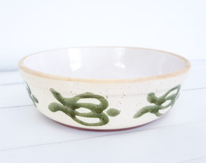 Vintage ceramic dish green pattern • retro glazed stoneware bowl • mid century ceramics
