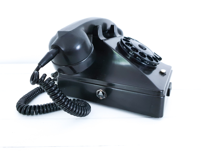 Vintage PTT telephone bakelite black • old-fashioned