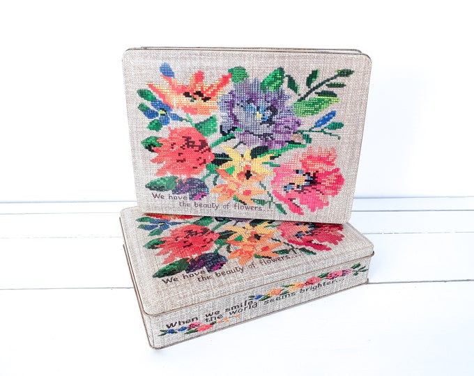 Vintage cookie tin embroidered flowers • old cookie jar • vintage tin • kitchen storage tins • embroidered flowers