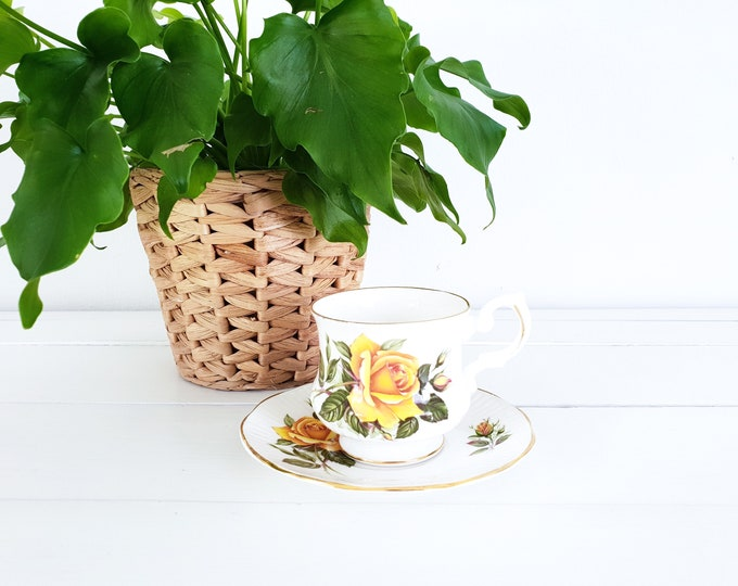 Vintage rose porcelain teacup and saucer • fine bone china teacup made in china • shabby chic high tea party