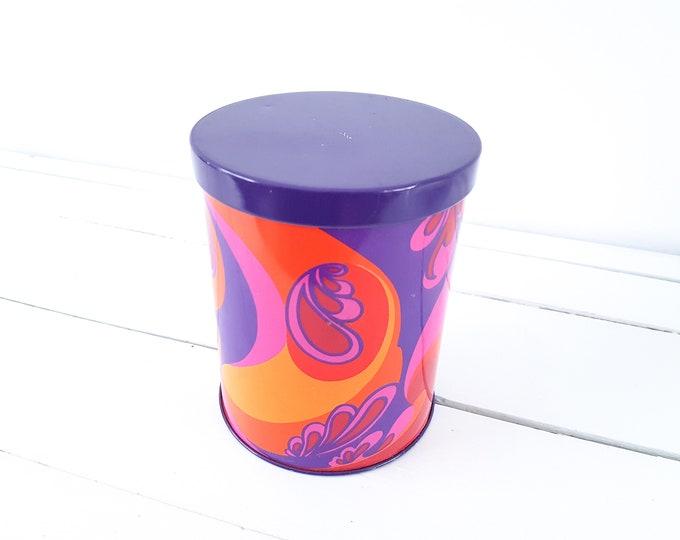 Retro flower pattern storage tin Hippie • hippie style • Boho decor • old storage tin • bohemian style home decoration