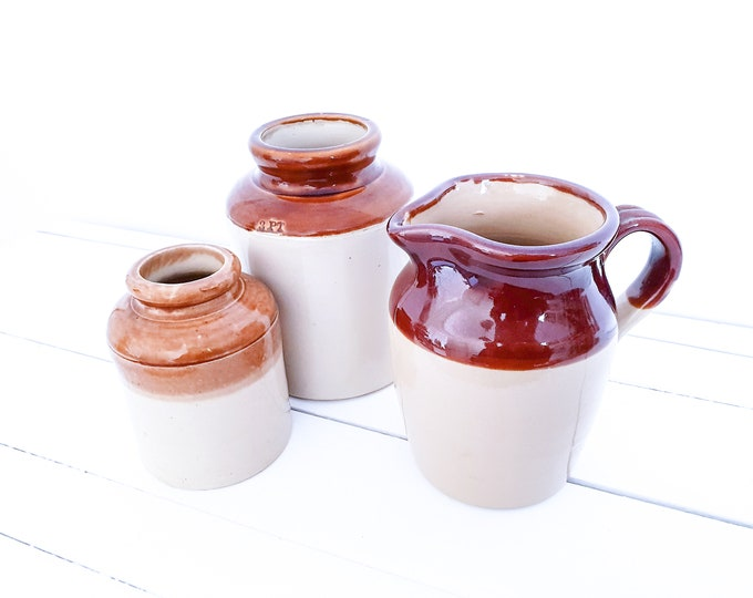 Antique glazed ceramic pottery • old ceramic pitcher • country kitchen • vintage brown glazed earthenware pottery
