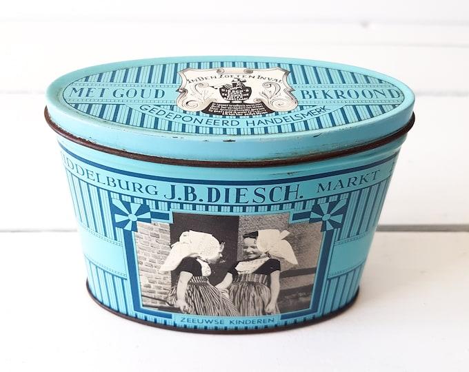 Dutch vintage storage tin 'Zeeuws' * old collectible tin * farmhouse decoration * old metal can