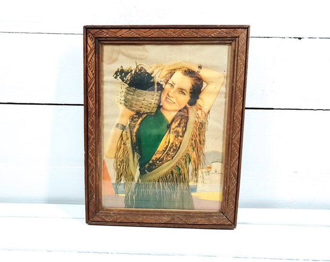 Vintage original French advertisement framed Miss-Grapes • vintage wall art • French wall decoration • boho bohemian style home decor