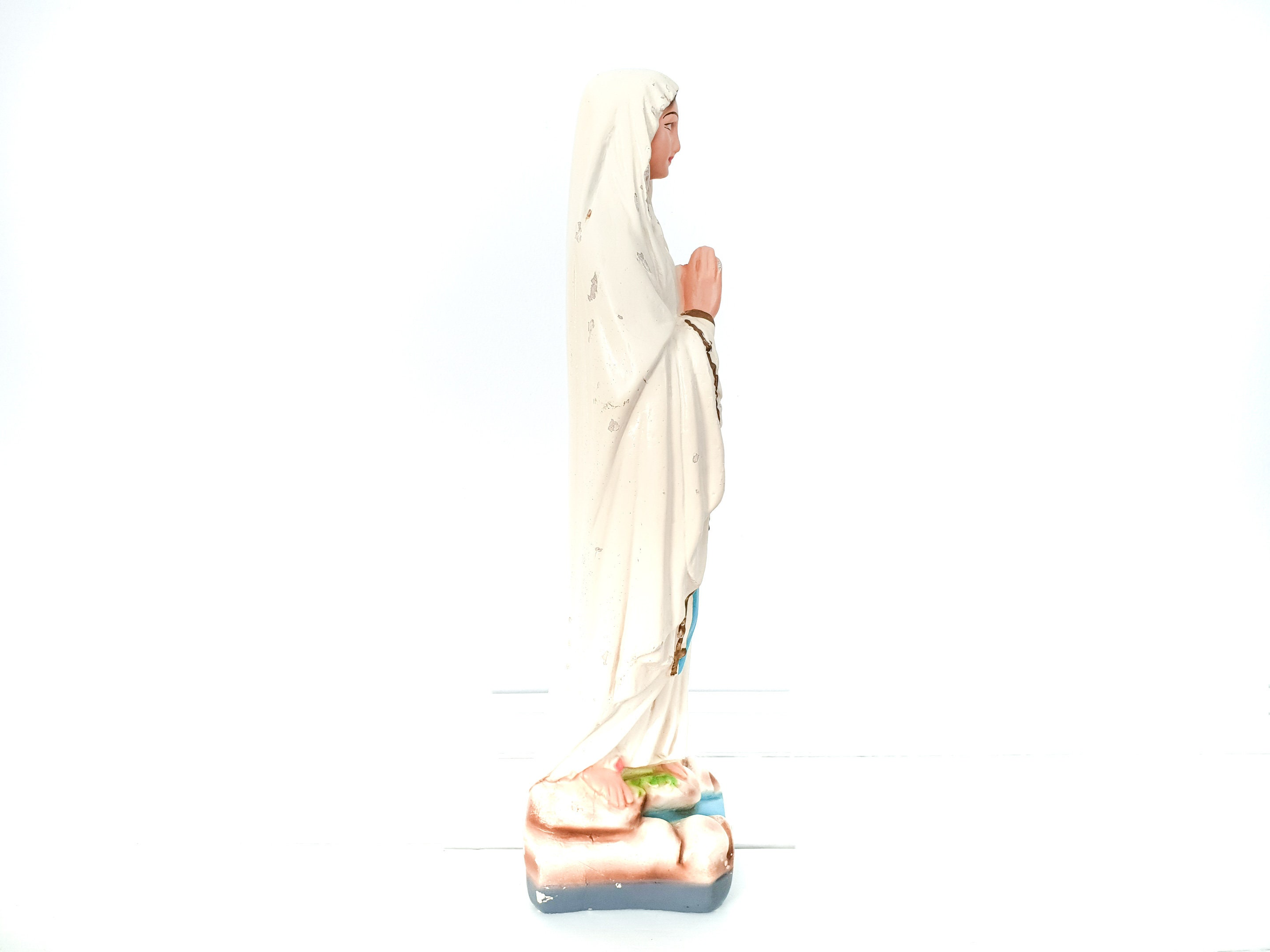 Antique Plaster Virgin Maria Statue • Old Religious