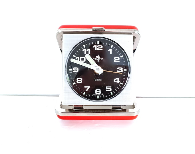 Vintage folding travel alarm clock red by Velona Germany • old red and silver travel timer • decorative alarm clock • bedroom decoration