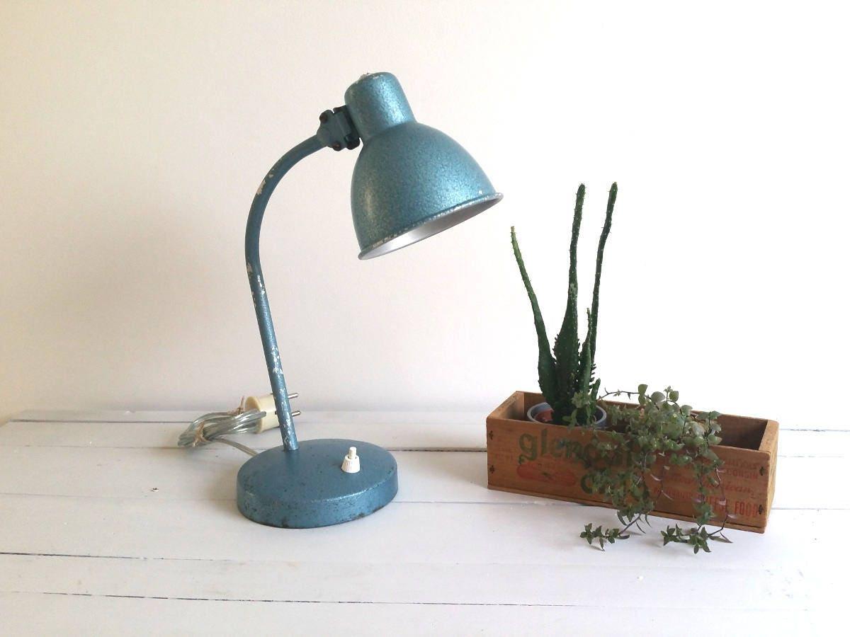 Old industrial blue metal desk lamp * industrial light * industrial ...