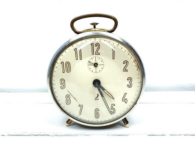 Vintage Jaz alarm clock black golden accents • old French Jaz alarm clocks • decorative clocks • desk clock • collectible alarm clock