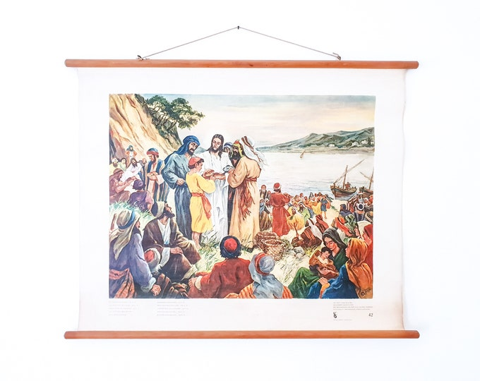 Old linen school chart • biblical painting • religious wall decoration • And Jesus took the loaves - Joh. 6:11
