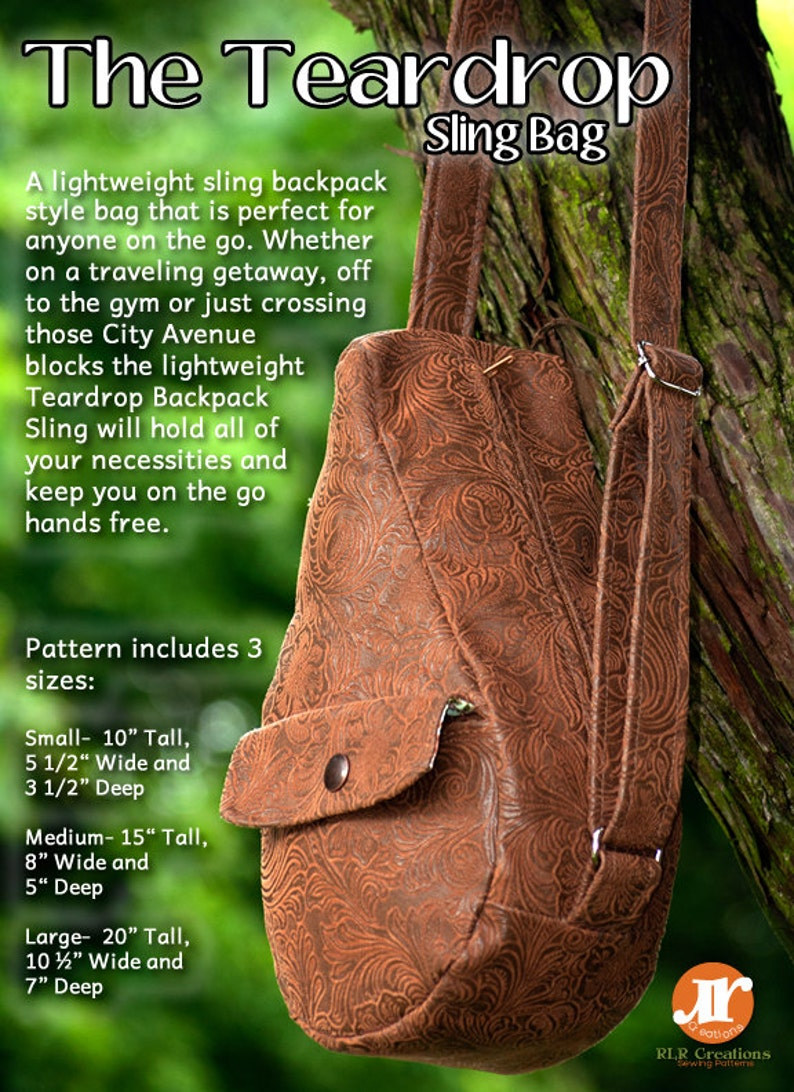 4802e7680398 The Teardrop Sling Bag PDF Sewing Pattern 3 Sizes Included