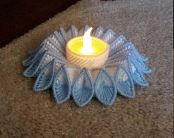 Plastic Canvas Blue and White Candle Holder