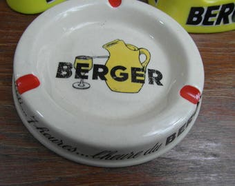 Vintage Ashtray, Vintage Ceramic Berger Ashtray, Collectable Berger French Ashtray, Berger Cigaretter Ashtray, Vintage Tobac Cigar Ashtray,