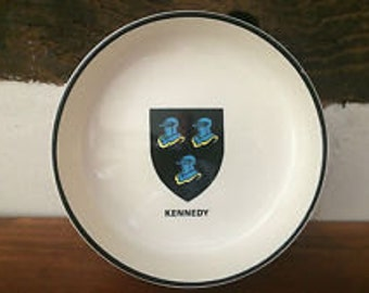 Kennedy,Irish Family Crest,Display Dish,Tobacciana, Cigarette Ashtray,Collectable Cermaic Dish, Ireland Coat of Arms, Ireland, Collectable