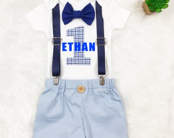 Boy Suspenders And Bow Tie Outfit First Birthday 1st Shirt Shirts Baby Clothes OnesieR