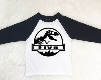5 Year Old Birthday Dinosaur Shirt 5th Shirts Boy Five Raglan