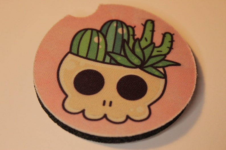 Cactus Car Coaster Skull Car Coasters Kawaii Cactus Skull Neoprene Car Coaster 2-pack Kawaii Car Coasters