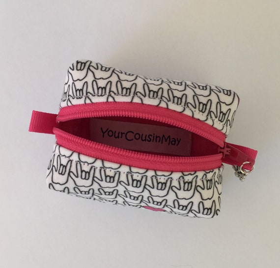 ASL Great Gift! print Pencil Cases and Change Purses Pink /& White American Sign Language