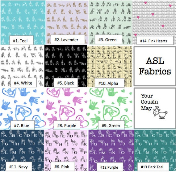 American Sign Language print Pencil Cases and Change Purses Pink Navy Great Gift! ASL