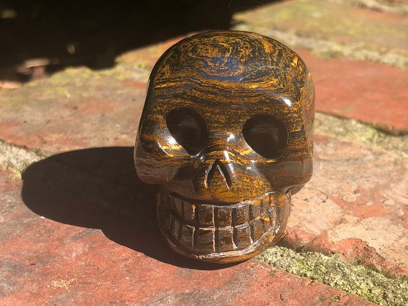 Tiger Iron Crystal Skull, Tiger Iron Skull, TISK1A, Vitality, Creativity,  Lower Chakras, Strength, Courage