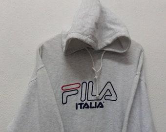 Nice !!!Fila Hoodie Sweatshirt// Big Logo Embroid Spellout//Size M//