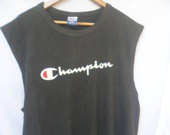 Vintage Champion Tank Top//American sportswear//Big logo//Made in Usa//Size L