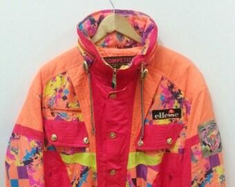 Vintage ELLESSE Competition//Ski Wear Racing//Embroidery Logo//Colour Block//Made By Goldwin//Button Zip//Size L Jaspo