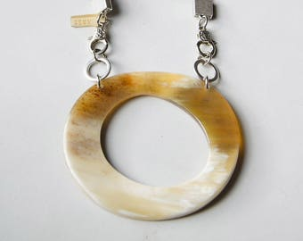 Bold statement necklace large horn pendant