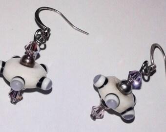 Purple UFO earrings